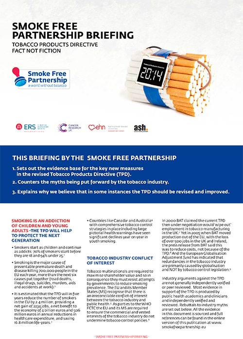 New Myth-busting briefing on the Tobacco Products Directive